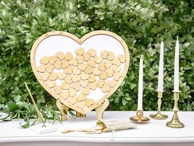 Wedding Guest Book Alternative Heart Shaped Wooden Drop Box 70 Wishes Tokens