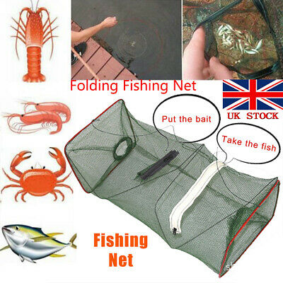Foldable Fishing Net Trap For Crab Prawn Shrimp Crayfish Lobster Fishing Cage UK