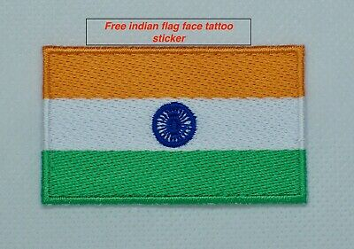 INDIA PATCH Quality Embroidered Iron On INDIAN National Flag for cricket fans