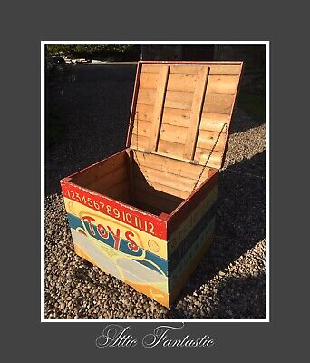 HUGE Antique Edwardian Pitch Pine Chest - Beautifully Painted Children's Toy Box