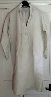 Vintage French linen pleated night shirt, cotton collar.  Ref Linen 12