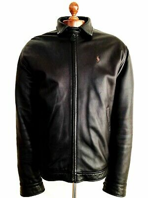Vtg Mens Black Leather RALPH LAUREN POLO Harrington Bomber Biker Jacket Coat USA