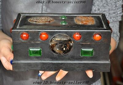 Collect Chinese Rosewood Inlay Old jade agate dragon phoenix Kirin Jewelry Box A