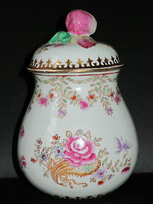 Beautiful Chinese Porcelain Lidded Jar w/ Fruit Finial - Hand Painted - EX++