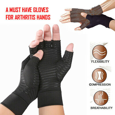 Arthritis Gloves Fingerless Support Therapeutic Copper Compression Fit Sleeves