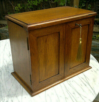 Victorian Oak Smokers Cabinet~Drawers Working Lock & Key ~ Desktop Cabinet~