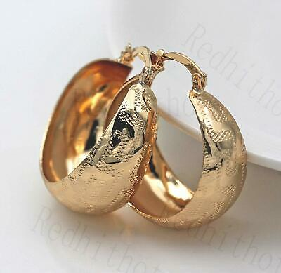 18K Gold Filled Earrings Carving Geometry Round Delicacy Chic Hoop Gift UN
