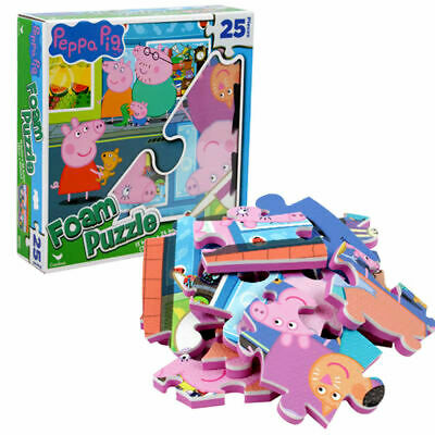 "New Peppa Pig 25 pieces Floor Foam Puzzle Mat Toddler Kids Girls Boys 13"" x 24"""