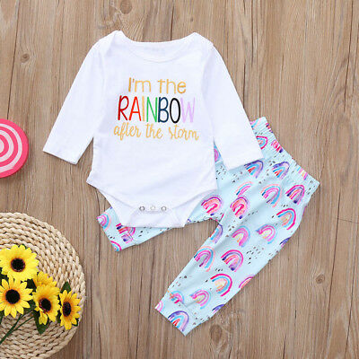 Newborn Toddler Baby Girls Outfit Clothes Romper Top+Long Pants 2pcs Outfits Set