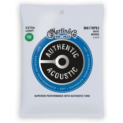 Martin MA170PK3 3 Sets of M170 Extra Light Acoustic Guitar Strings 80/20 Bronze