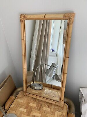 A vintage 1970s bamboo mirror French Mid Century