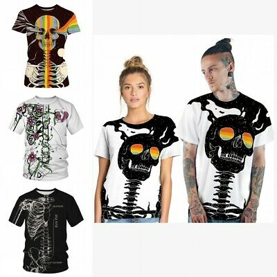 Mens Womens Skeleton Print T-Shirt Artwork Short Sleeve Casual Tops Summer