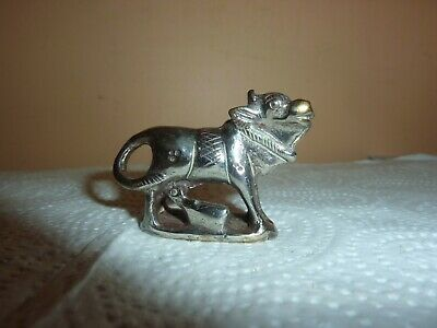 Vintage S.e.asian Silver Plated On Brass 5 Cm Long Miniature Buffalo/Cow & Calf