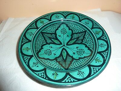 Vintage Persian Islamic Pottery 21.6 Cm Turquoise Bowl With Black Painted Design