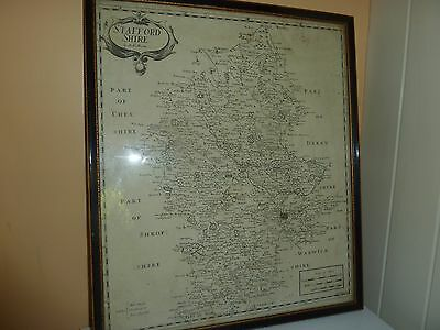 1695 Robert Morden Framed Uncoloured Stafford County Map From Camden's Britannia