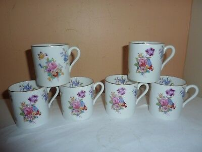 Set Of Six Deco Spode Copelands China 6 Cm Coffee Cans With Dresden Rose Pattern