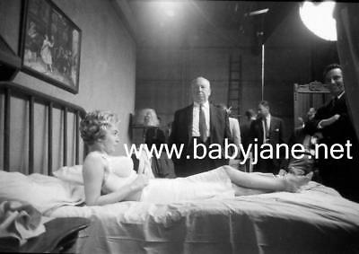 087 Psycho Janet Leigh In Bra In Bed & Alfred Hitchcock Behind The Scenes Photo