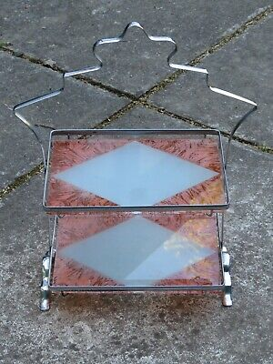 Art Deco Chrome 2 Tier Cake Stand With Red Glass Shelves