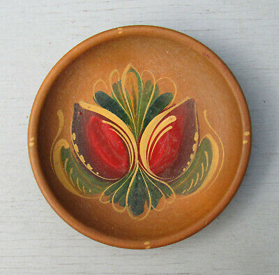 Vintage Small Treenware Wood Dish W/Exquisite Hand Painted Detail