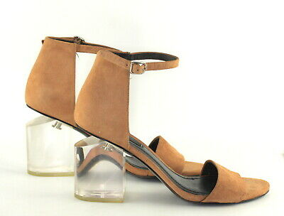 19213ed7b5 ALEXANDER WANG Abbey Suede Lucite Heel Adjustable Strap Open Toe Sandal  Clay 37