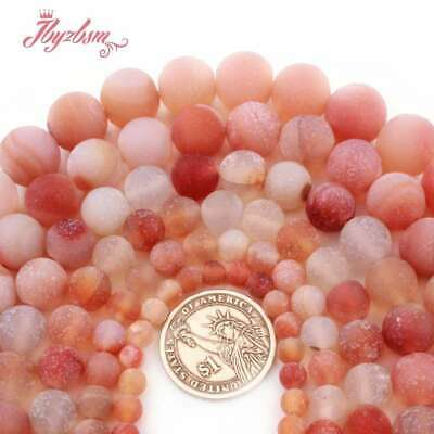 "Round Frost Matte Red Carnelian Agate Stone Loose Bead for Jewelry Making 15""DIY"