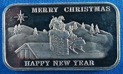 Vintage Merry Christmas Happy New Year 1 Ounce .999 Silver Art Bar