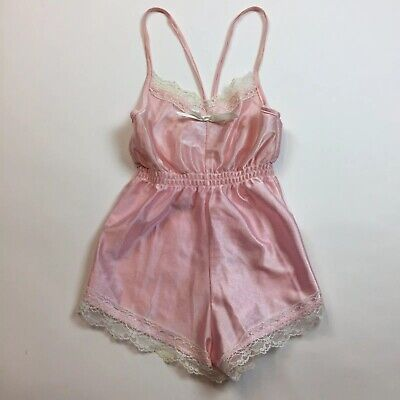 Vintage 70's 80's Girl's Slip Romper Shorts 6 Pageant Pink Lace Floral ILGWU J16