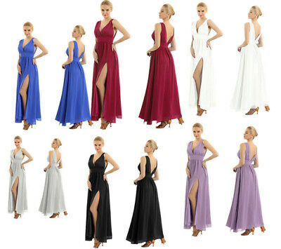 Womens Elegant Bridesmaid Dress Split Maxi Evening Cocktail Party Ball Prom Gown
