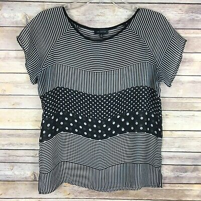 The Limited Women's Blouse Size Small Black White Striped Polka Dot Sheer