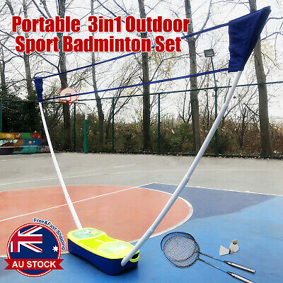 3 in 1 Portable Badminton Tennis Volleyball Net Set Outdoor Backyards Sports D