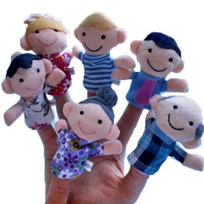 1/5PCS Cartoon Family Finger Puppets Cloth Doll Baby Educational Hand Animal Toy