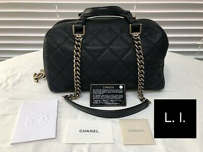 Chanel Bowling Boston Bag Caviar Leather Black Gold Hardware + Authenticity Card