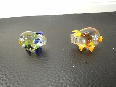 Mid Century Murano Art Crystal Glass HAND BLOWN  Piglets FIGURE-2PCS