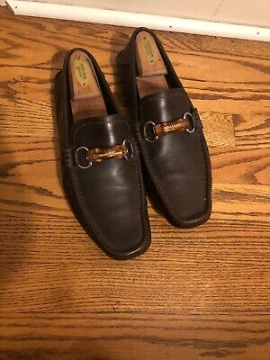 8732afa03 Gucci Men's Brown Leather Bamboo Horsebit Driving Moccasin Loafers Size 9 US