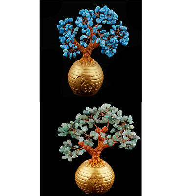 2pcs Money Wealth Bag Feng Shui Lucky Tree Natural Crystal Tree