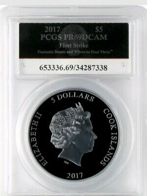Harry Potter 2017 $5 Fantastic Beasts 1 oz 999 Blk Silver Proof PCGS PR69DCAM FS
