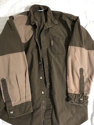 cc97d0ee58d Columbia Mens sz L Shooting Hunting Shirt Brown Patch Sleeve Shoulder