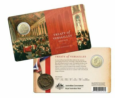 2019 CENTENARY OF THE TREATY OF VERSAILLES Coin on Card