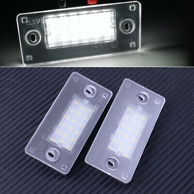 2pc White LED Number License Plate Lights Lamps Fit For Audi A4 B5 A3 8L LCI