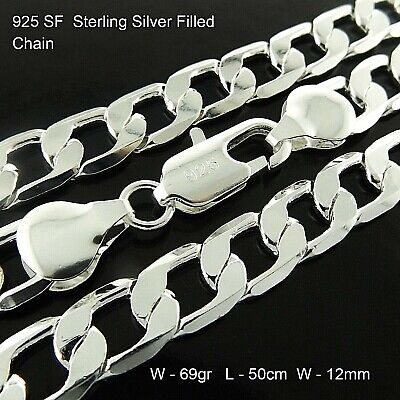 """Silver Necklace Chain 925 Sterling SF Solid Mens Heavy Curb Cuban Bling Link 20"""""""