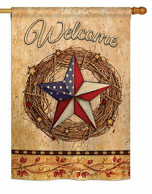 28 in. x 40 in. American Wreath Banner Flag, Double Sided Dye Sublimation