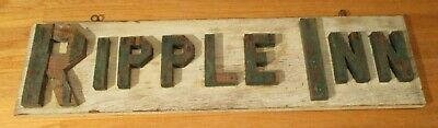 1940's RIPPLE INN 8.5 x 33 Hand Made Wooden Hotel-Motel Sign-Great Display Piece