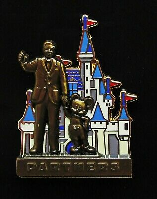 Disney 3D Pin Walt Disney & Mickey Partners Statue & Cinderella Castle Pin 10848