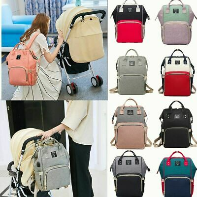 USB Large Mummy Multifunctional Baby Diaper Nappy Backpack Changing Travel Bag