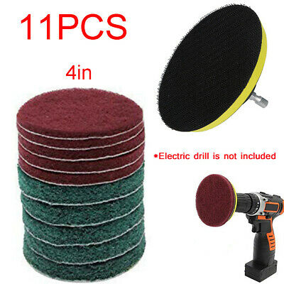 11PC Drill Cleaning Brush Kit Scrub Brush Power Tub Cleaner Combo Tool for Grout