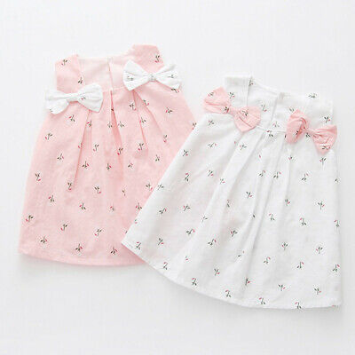 Toddler Infant Baby Girl Cotton Casual Tracksuit Sleeveless Beach Princess Dress