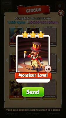 Coin Master Monsieur Loyal Card From Circus Set.please Read Item Description.