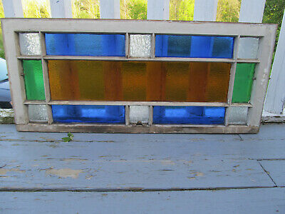 "VTG Victorian 44"" Wide 16"" Tall Over The Tub Privacy Stained Glass Sash Window"