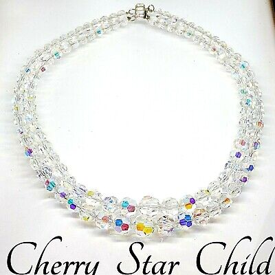 Vintage aurora borealis faceted crystal 2 strand necklace sterling silver clasp