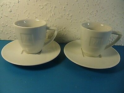 Pair Nespresso Collection Coffee Cups & Saucers.Embossed Porcelain Portugal